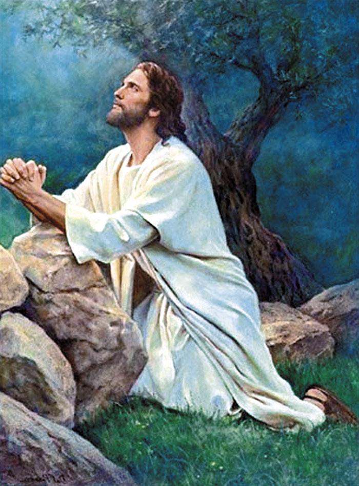 jesus orando para colorear
