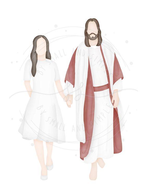 Señorita caminando con cristo