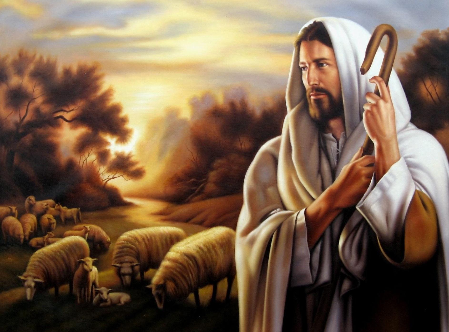 Jesús pastoreando