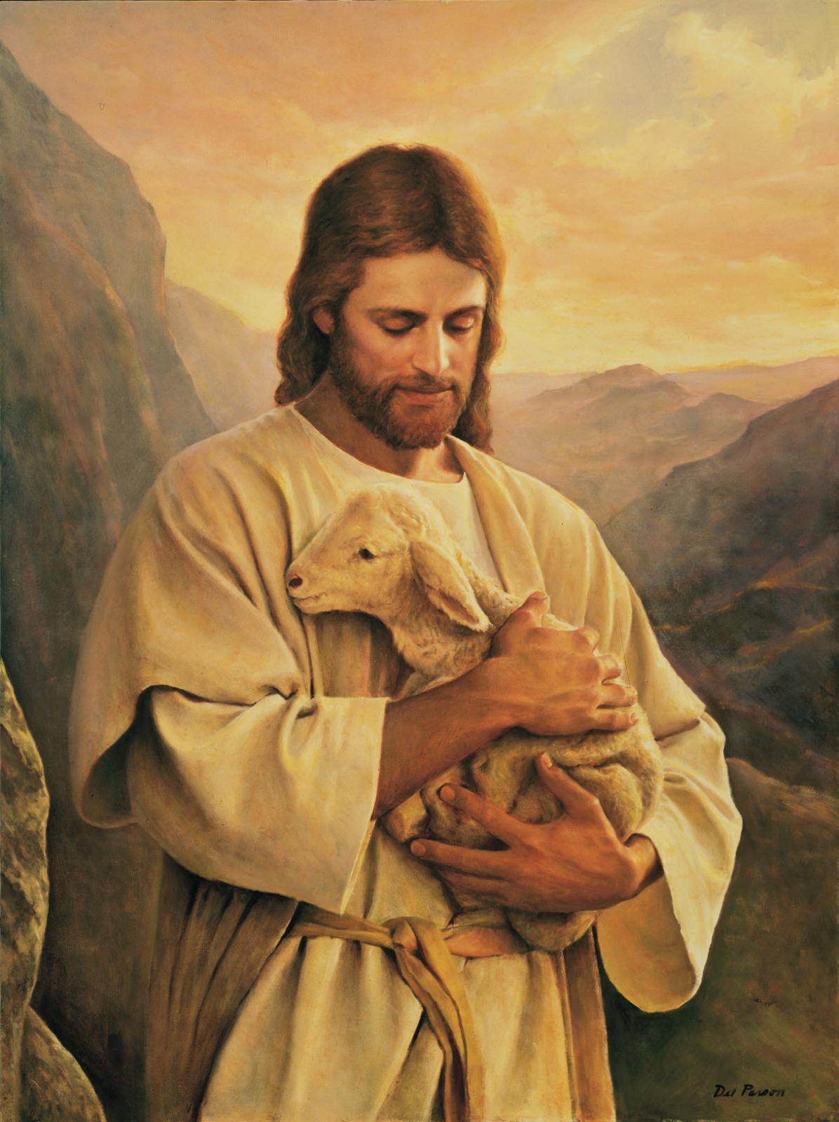 Jesús con una oveja