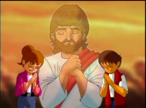 Niños orando con Jesús