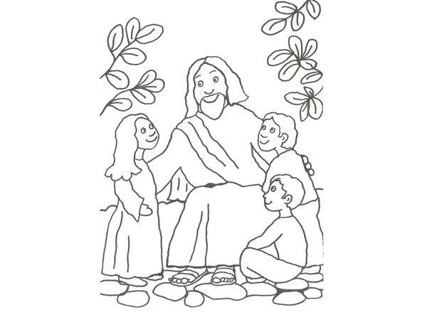 Dibujo de jesús y los niños